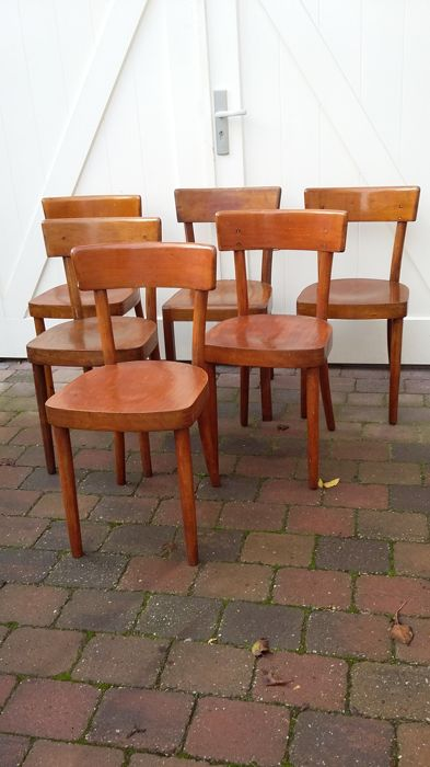 6 Cafe Stoelen.Levee Set Of 6 Vintage Bar Or Bistro Chairs Catawiki