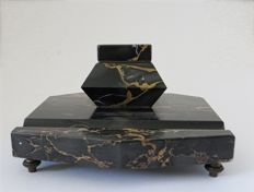 Stylish ink pot of veined marble