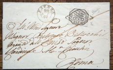 Papal State 1852 - 6 baj, grey used on letter from Faenza to Rome - Sassone no. 7a