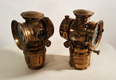 Two copper bicycle lamps Vitaphare - 1st half of the 20th century