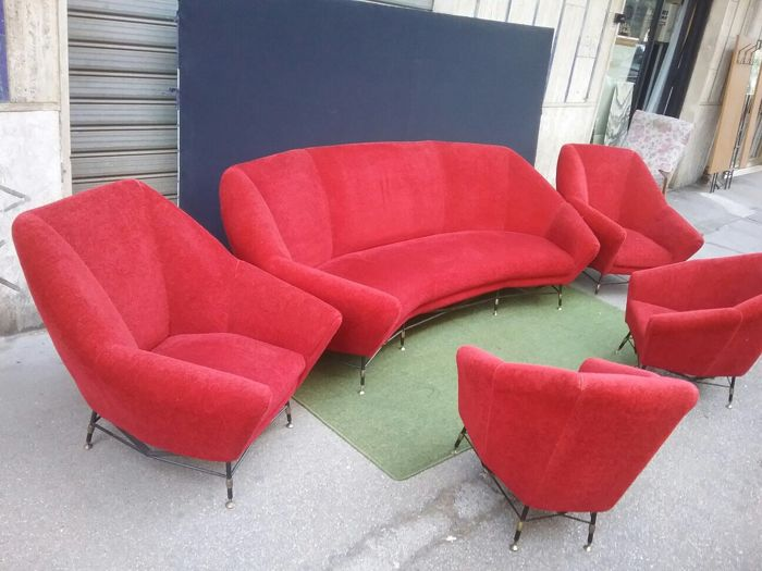 Unknown designer - Three seater sofa and four armchairs