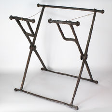 A Roman Iron Campaign Folding Stool (Stella Castrensis) - H. 50.8 cm (20 inches)