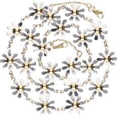 14 kt bi-colour yellow/white-gold decorated link necklace with flowers - length: 49 cm