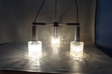 Glass hanging lamp with three lights, wood and chrome - 1960s - vintage design