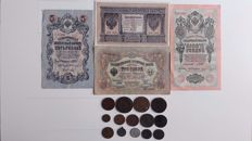Imperial Russia - 14 Silver and Copper coins and notes: 1, 3, 5 and 10 Rouble