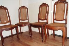 4 beautiful carved mahogany chairs dining room chairs Queen Ann