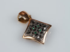 14-kt Yellow-Gold Square Pendant with Emeralds and Diamonds