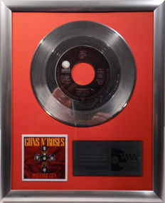 "Guns N' Roses - Paradise City -  7"" Geffen Records platinum plated record by WWA Awards"