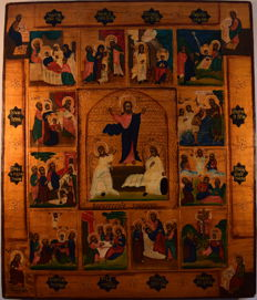 """Russian old icon """" The great feasts"""", hand painted, wood, tempera, XX th century."""