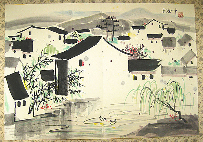 Folded books of  hand-painted  ink paintings By Wu Guanzhong《吴冠中画册》- China - late 20th century