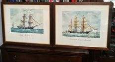 Gorgeous pair of prints of antique sailing ships - with a beautiful frame