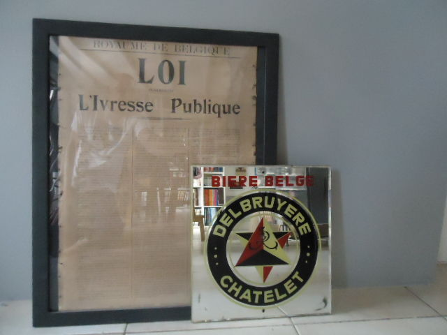 "Loi ""l'ivresse publique"" and promotional mirror fro the beer Delbruyere - 1950"