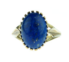 Fine yellow gold women's ring set with cabochon cut Lapis Lazuli, NO RESERVE