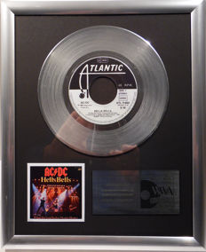 "AC/DC - Hells Bells -  7"" Atlantic Records platinum plated record by WWA Awards"