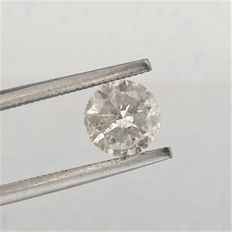 1.30 carat - Brilliant Cut Diamond -  H color - SI2 clarity- Comes With AIG Certificate + Laser Inscription On Girdle, 3 x EX.