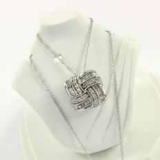 14kt White Gold 0.44 ct Diamond Pendant Necklace - Chain 45cm  - No reserve