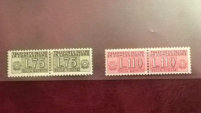 Italy Republic 1955/1981 - parcel post authorized delivery L.75+L.110 - Sass. NN. 9. 12