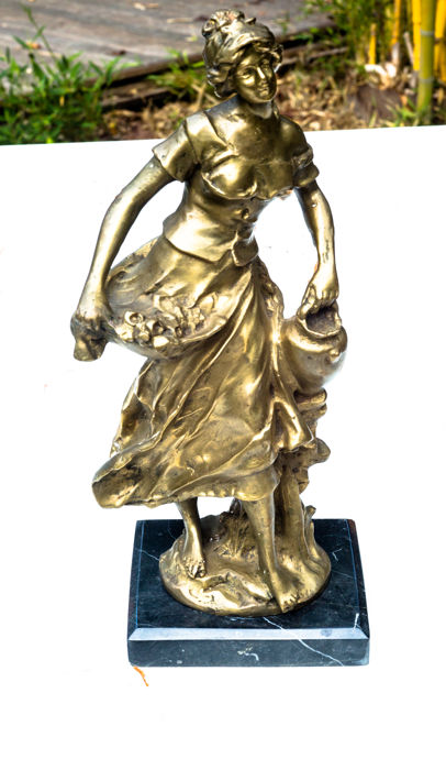 Bronze sculpture of a flower girl on marble 40 cm