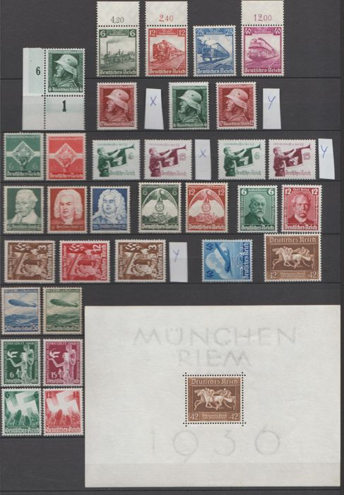 German Reich 1935/1936 - selection between Michel 580 and  633 + block 4 x