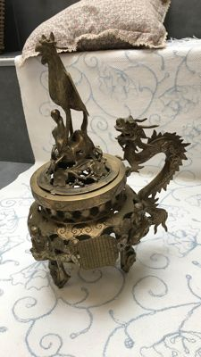 Incense burner with phoenix and dragon decoration - China - 1940s/1950s