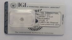 0.73ct   Diamond Round Cut  IGL H SI2 -NO RESERVE