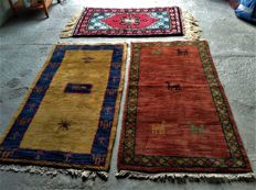 3 Indian hand-knotted rugs, Tabriz 123 x 71 cm, 2 Indo - Gabbehs 144 x 77 cm, 2000 to present.