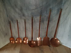 7-piece copper ladle set - France - 2nd half of 20th century
