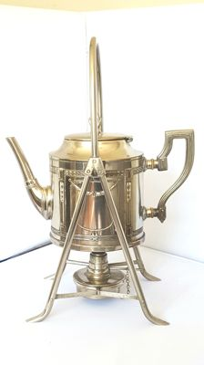 Metal/silver plated Art Deco tea pot with holder and burner., unmarked