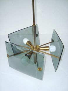 Unknown designer - Gorgeous pendant light in brass with thick, curved, bevelled glass components