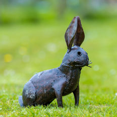 Metal hare with the ears upright