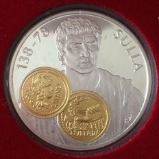 Netherlands Antilles - 10 guilder Trade Coin 2001 'Lucius Cornelius' - 925/1000 silver with gold inlay