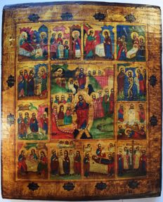 Russian orthodox iсon, great feasts of the orthodox church, 35 x 28,5 cm, hand painted, tempera, antique wood.