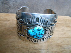 Sterling-silver turquoise Navajo bracelet - signed by T. Singer