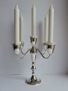 Silver five armed candlestand, Duchin, United States, 2nd half of 20th century, double usage