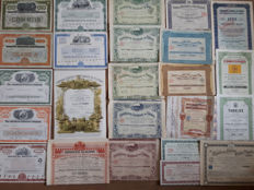 Lot of 24  world wide different tobacco shares ( Bulgarian Gold Bold,  Tabacs d' Orient',   USA Virginia tobacco) 1904-1991