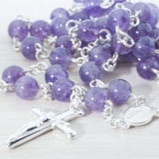 Sterling silver 925/1000 and Amethyst rosary. Length 75 cm