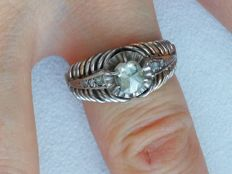 Antique 14K White Gold Lady's Fashion Ring with 7 diamonds ,certified!