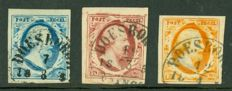 The Netherlands 1852 - King Willem III - NVPH 1/3 with semi-circular cancellation Doesborgh B