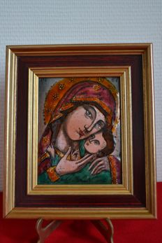 Icon of Dominique Piechaud, glazed bronze, medieval wall plate Madonna and Child, in a golden double frame