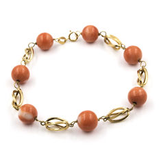 Yellow god, 18 kt - Bracelet with cage pattern - Pacific coral, 9.00 mm - Length 19.50 cm