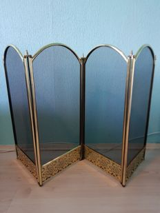 Brass fireplace screen - 2nd half of the 20th century