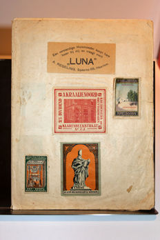 Sluitzegels; Album with stamps of famous old brands - early 20th century