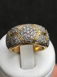 18 kt gold ring and diamonds of 1.40 ct Top Wesselton