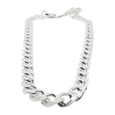 Solid men's curb chain, genuine 925 sterling silver 165 g