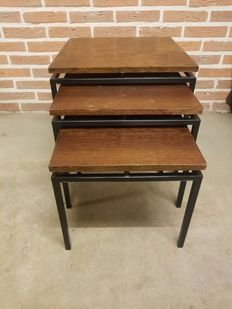 Manufacturer unknown - wenge wood nested table set