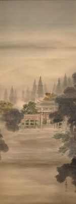 Scroll painting on silk of a shrine in wooded landscape - Signed with 玉 粹 (Gyokusui) - Japan - approx. 1920
