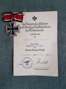 German Iron Cross 2nd class with certificate obtained on battleship Gneissenau in 1940
