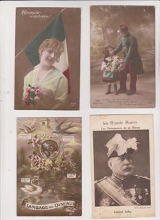 Very fine lot of 70 old postcards militaria, patriotic, world war 14/18