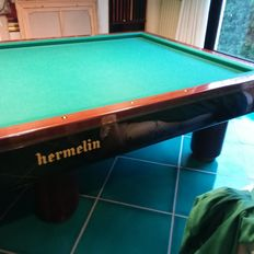 Italian international pool table - without holes - Hermelin brand - 1990 - Milan, Italy