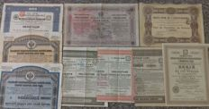 9x Russian Bonds & Shares - Moscou Smolensk 1869 - State Bonds - Railway Bonds - Industries